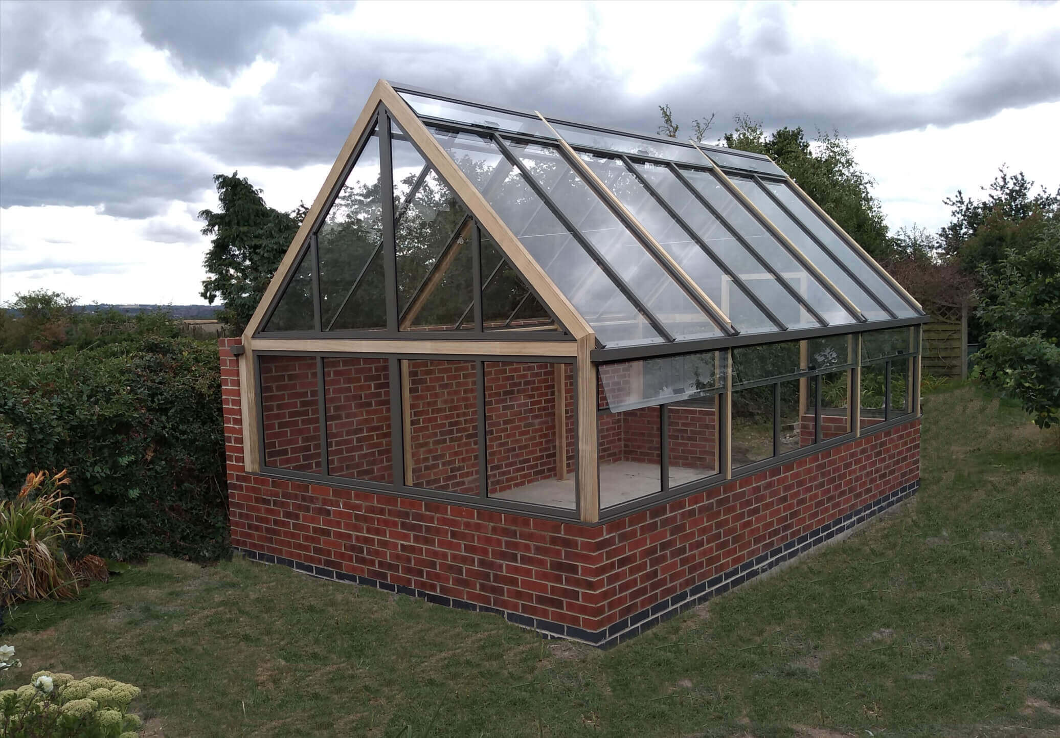 Greenhouse against wall