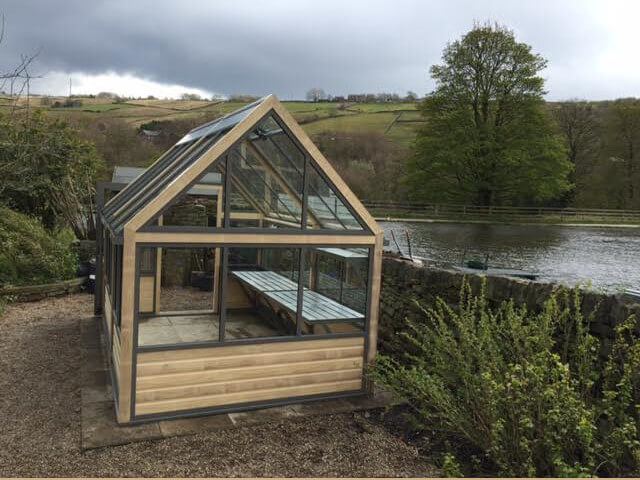 Gable view of luxury greenhouse