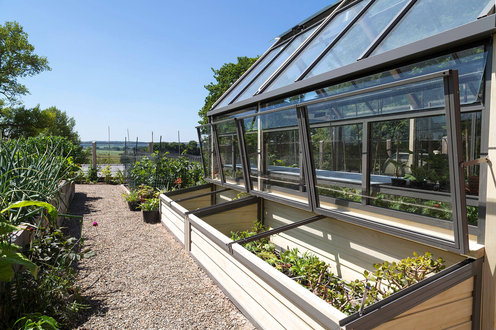 Greenhouse with cold frames