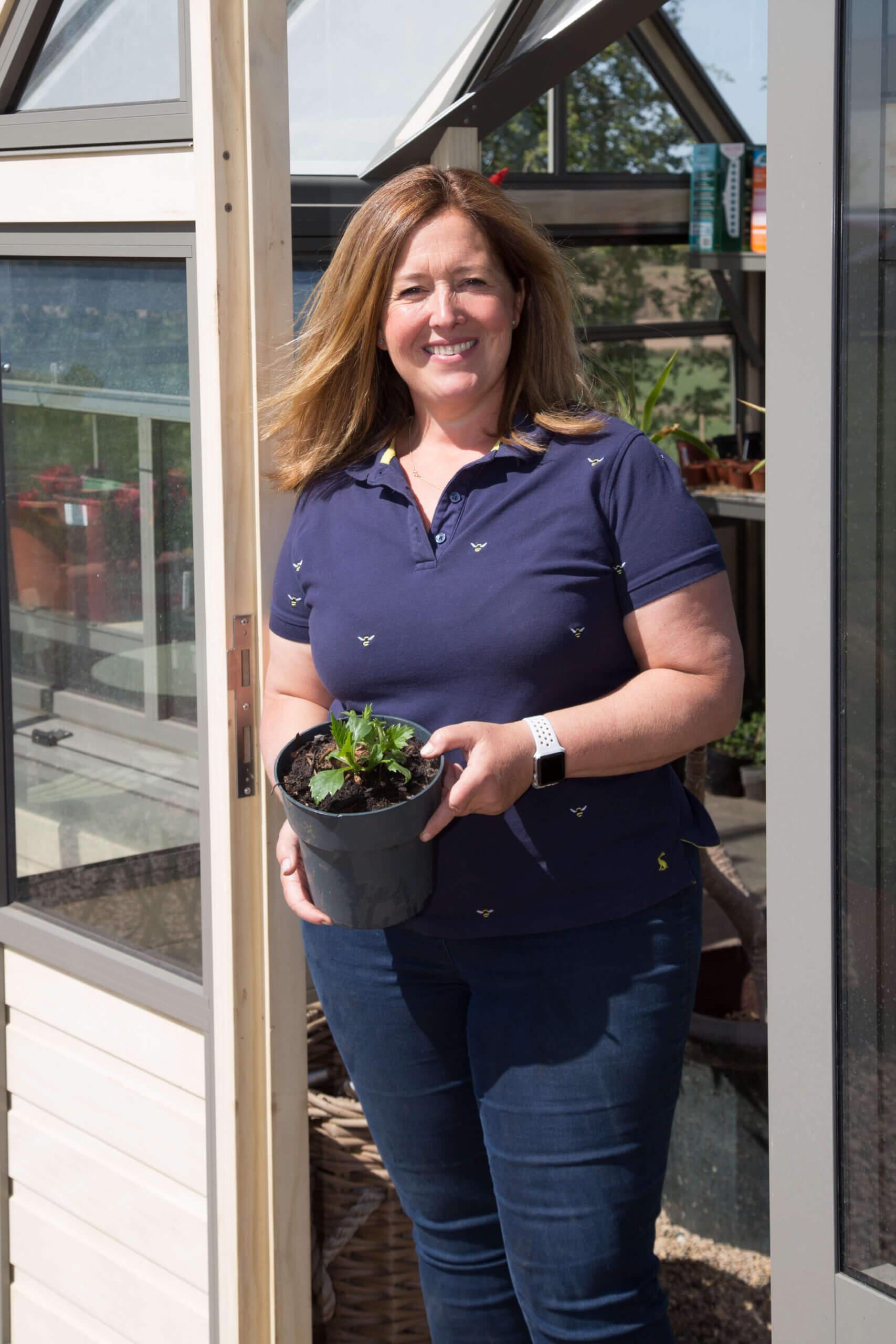 customer inside the greenhouse