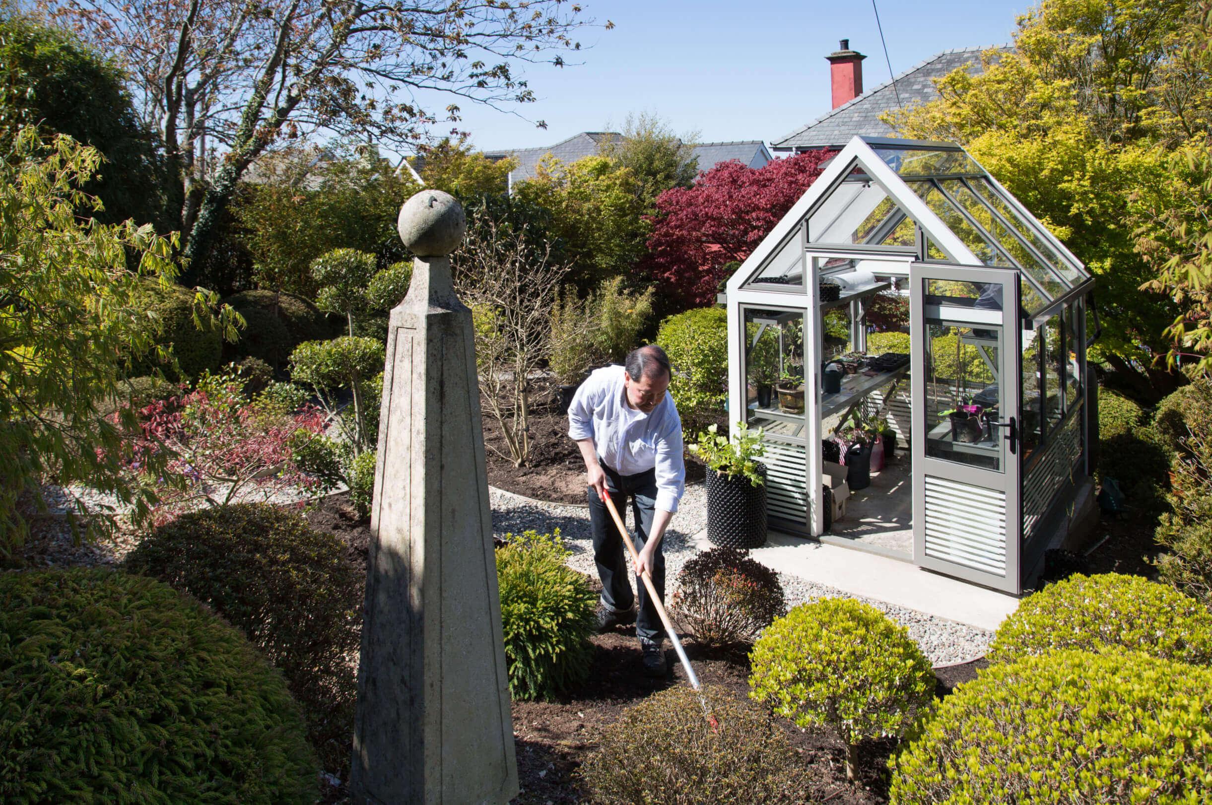 Gardening around a greenhouse