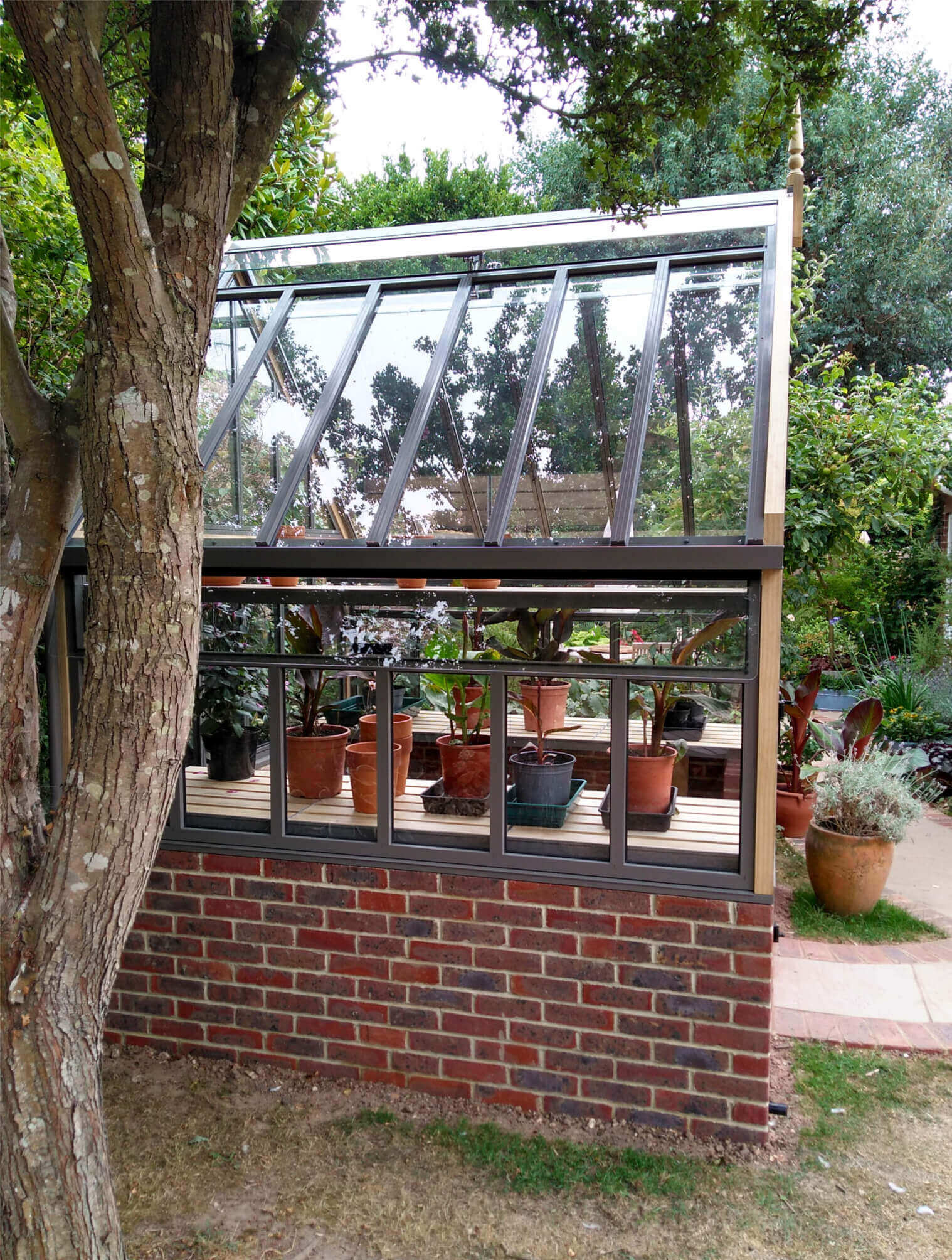 Side view of Victorian Greenhouse on wall
