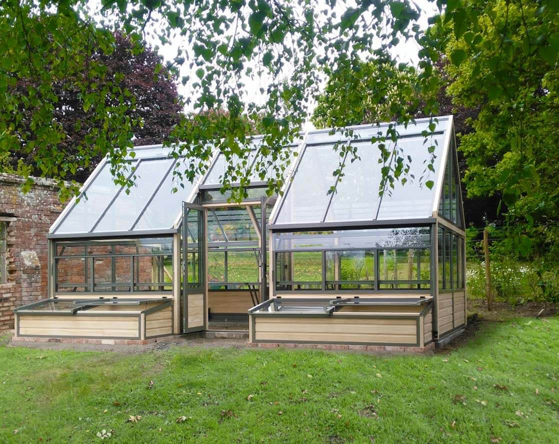 Greenhouse with door in sides