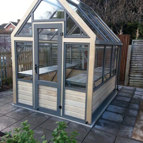 grey aluminium greenhouse