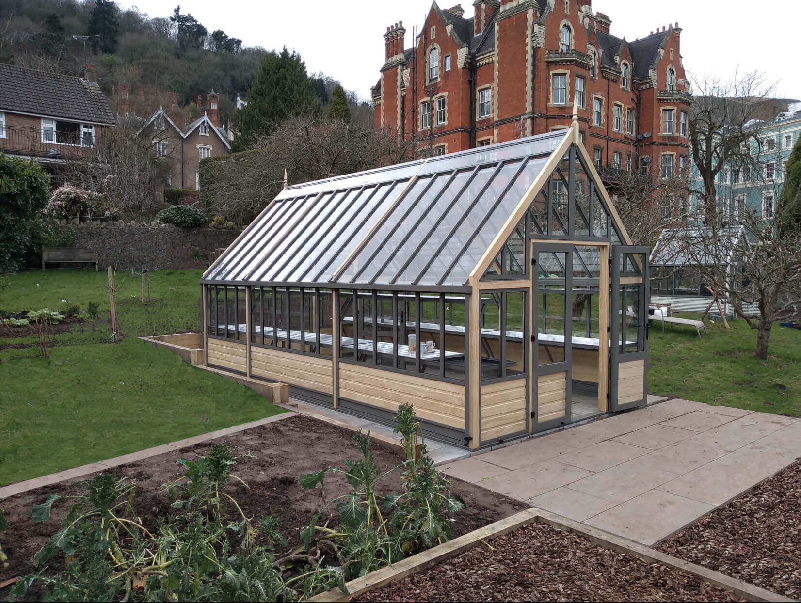 Victorian Greenhouse with Double Door Access