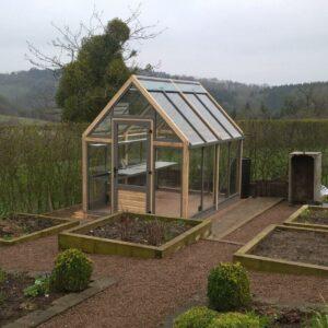 kitchen garden,raised beds, greenhouse