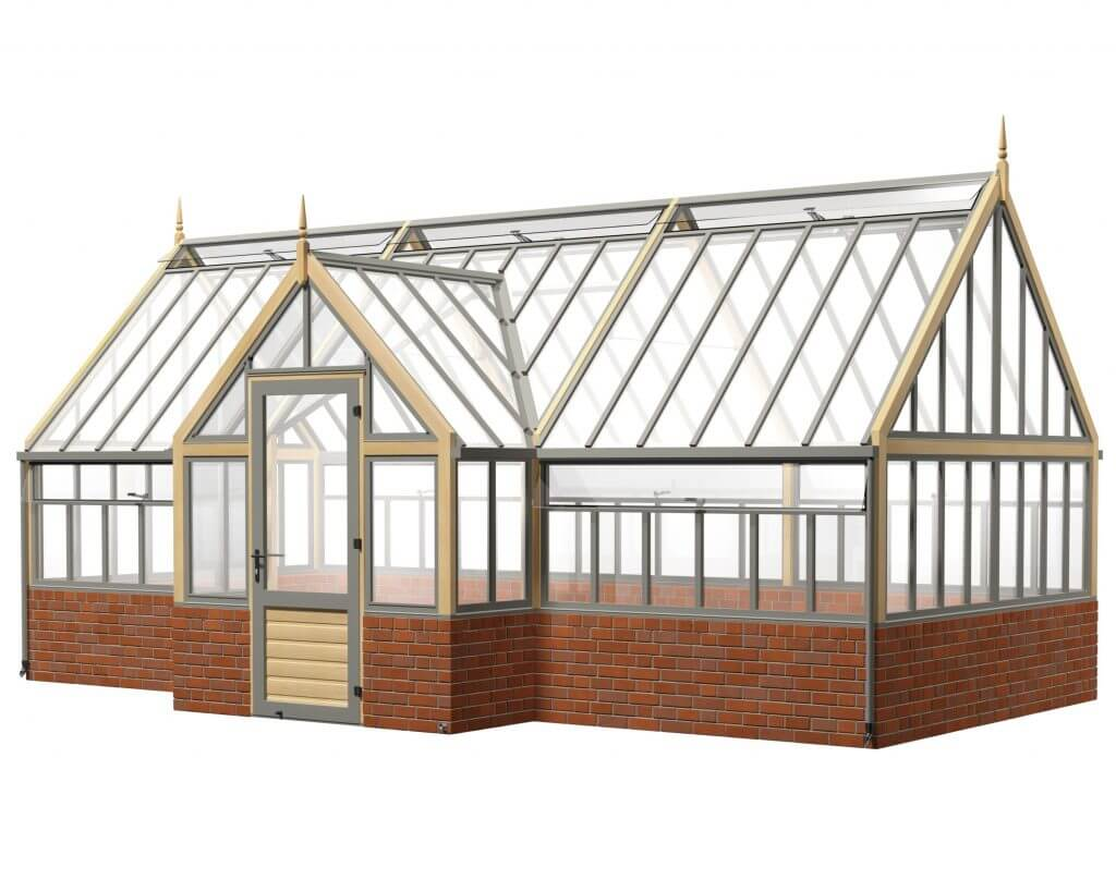 large victorian greenhouse with porch on dwarf wall
