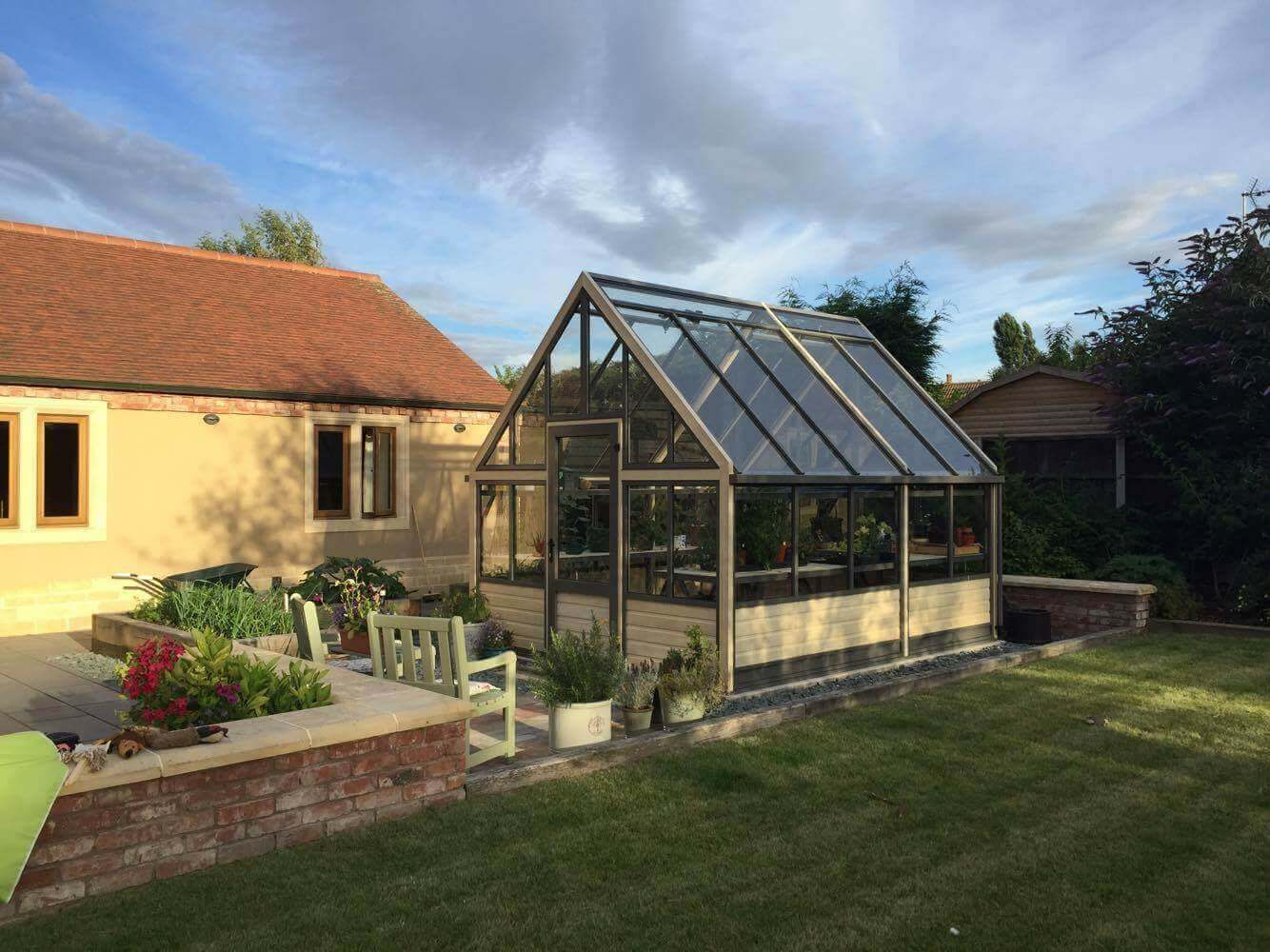 large wooden greenhouse