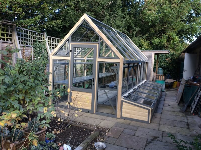 Long greenhouse with coldframes