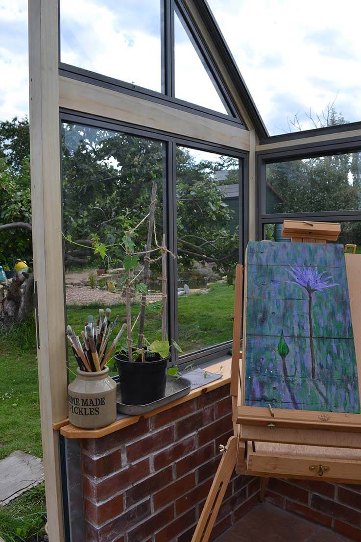 Painting in greenhouse