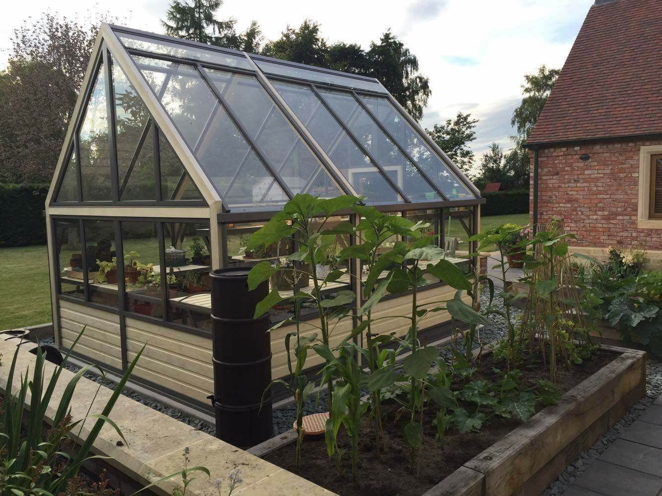 large wood greenhouse plain end