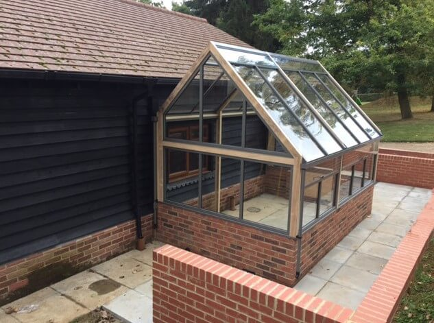 modern 3/4 lean-to greenhouse
