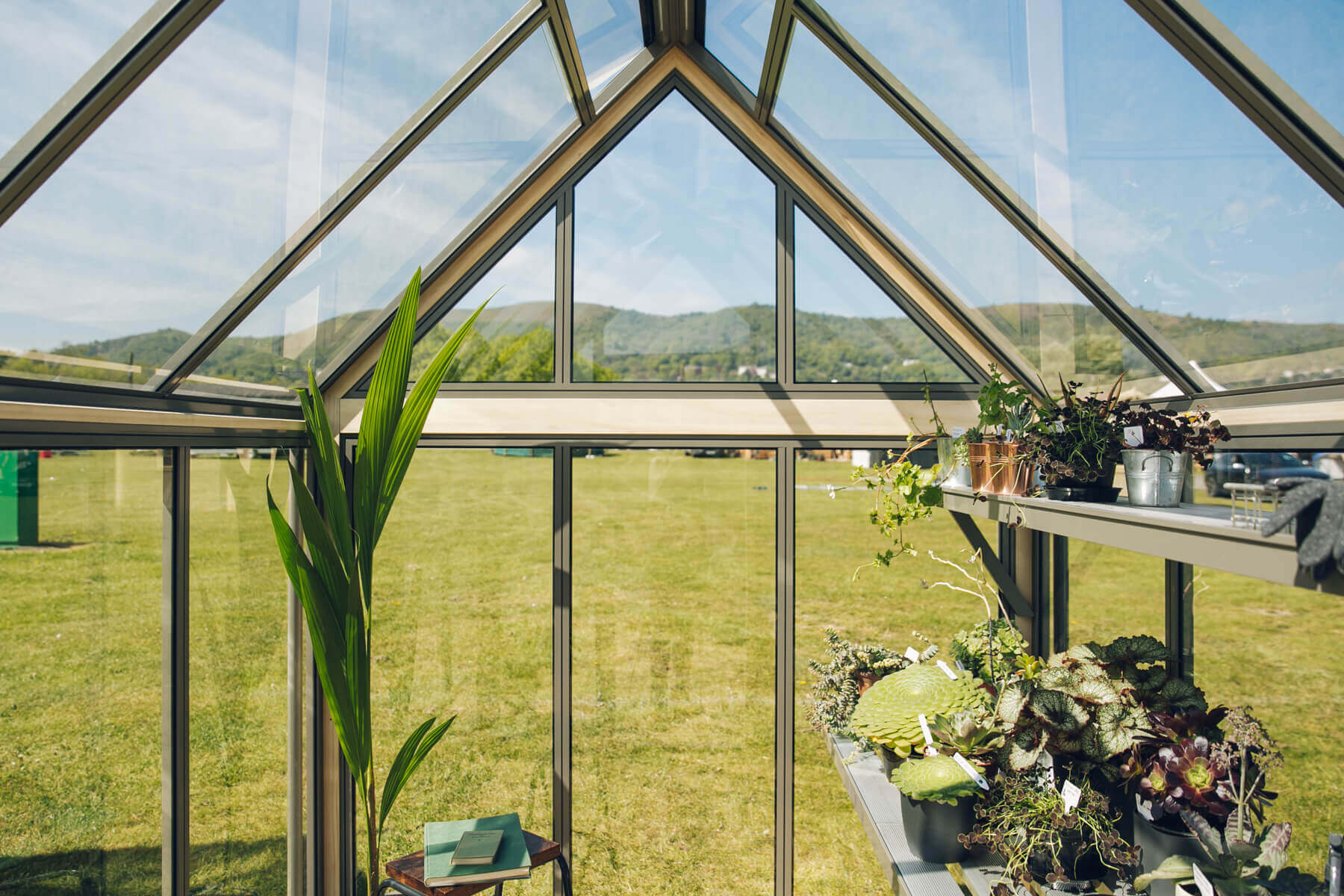 View through gable of six foot greenhouse