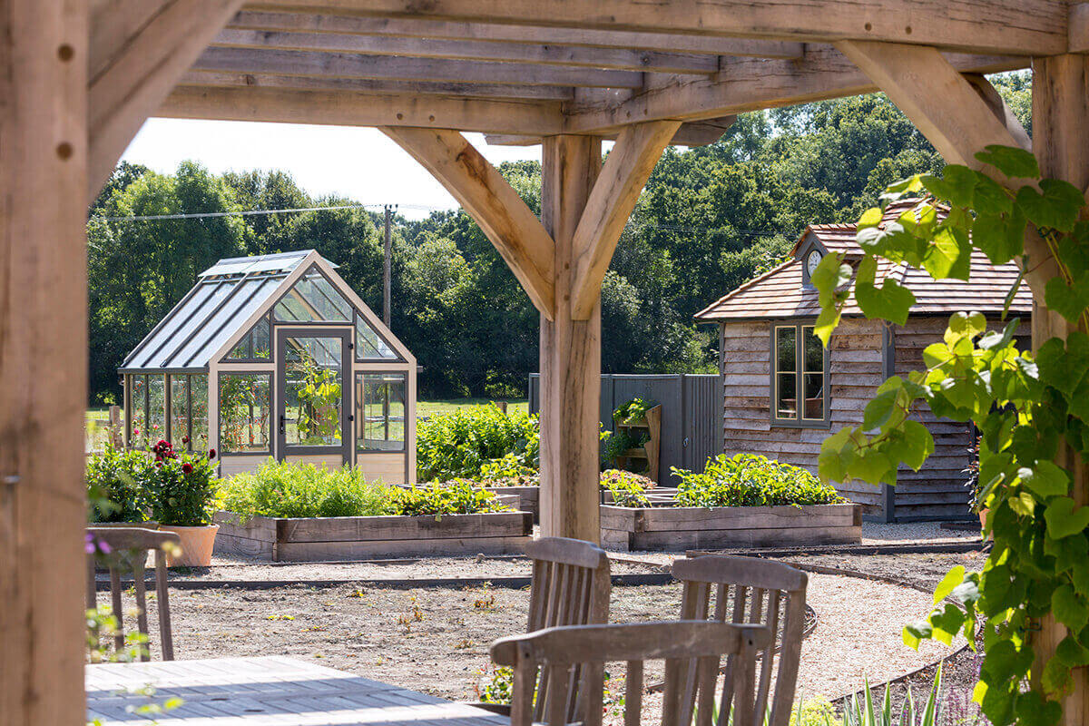 View to greenhouse amongst raised bed