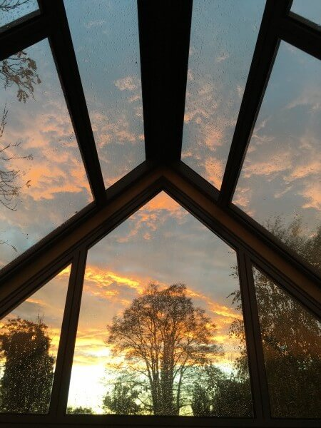 Greenhouse gable at sunset