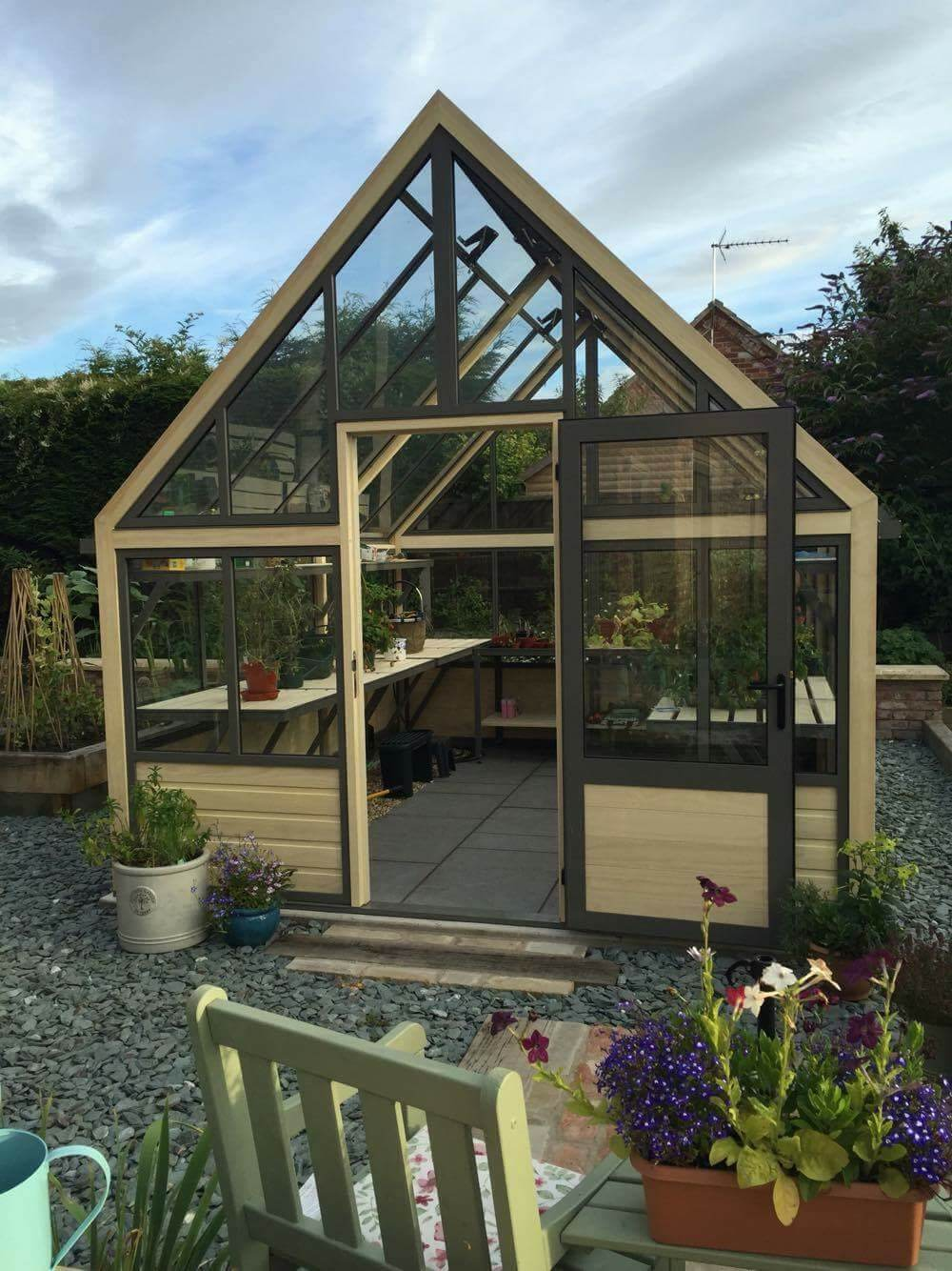 Large greenhouse with door open